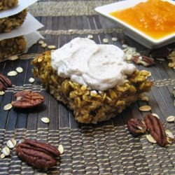 Baked Pumpkin Oatmeal with Cream Topping