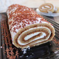 Healthy Tiramisu Cake Roll (Dairy Free)
